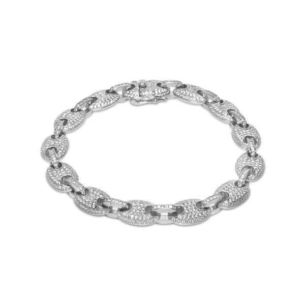 9mm Men's White Gold Gucci Link Diamond CZ Hip Hop Bracelet