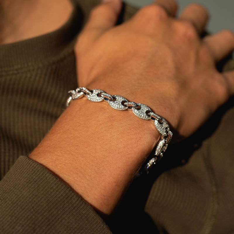 9mm White Gold Gucci Diamond CZ Bracelet