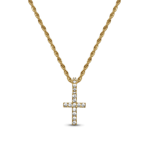 Diamond CZ Micro Men's Gold Cross Necklace