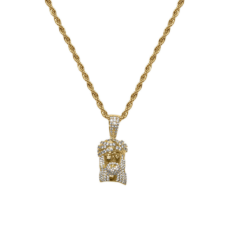 Gold Diamond CZ Jesus Piece Necklace for Men