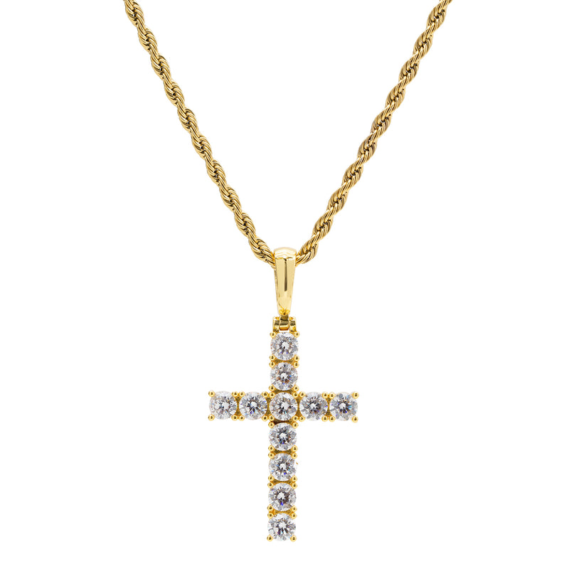 Gold Diamond CZ Men's Cross Necklace with Chain