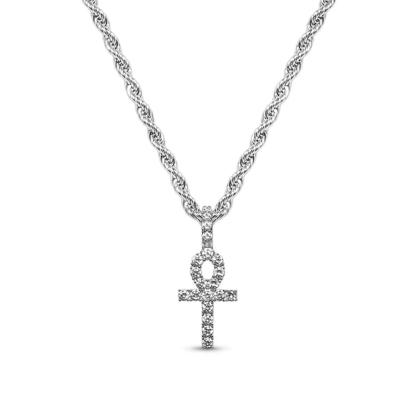 Hip Hop White Gold CZ Micro Ankh Pendant Necklace