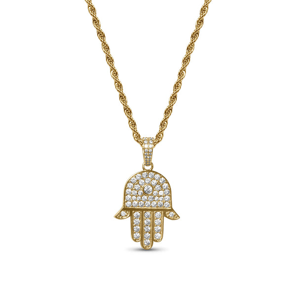 Hip Hop Gold Diamond CZ Hamsa Necklace for Men