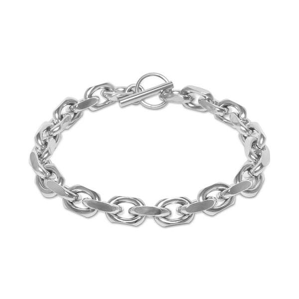 Hip Hop Men's White Gold Odin Link Bracelet