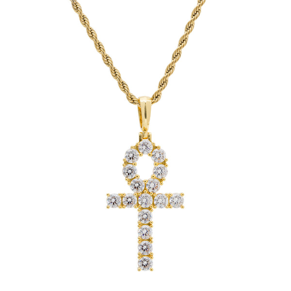 Men's Diamond CZ Gold Ankh Cross Necklace