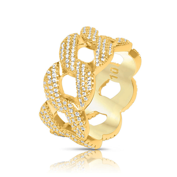 Men's Gold Cuban Link CZ Hip Hop Ring