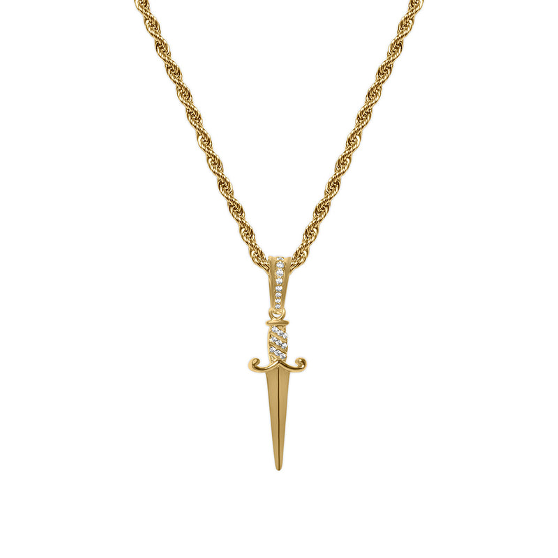 Men's Gold Diamond CZ Dagger Hip Hop Necklace