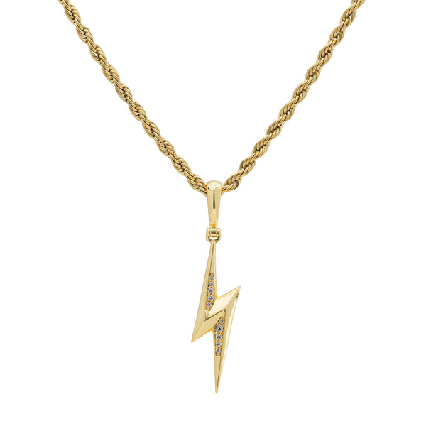 Gold Diamond CZ Lightning Bolt Necklace
