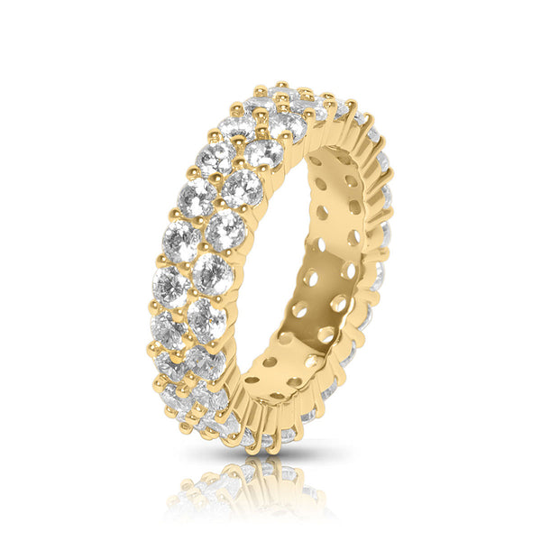Men's Gold Tennis Two Row CZ Diamond Ring