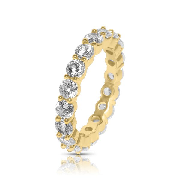 Men's Single Row CZ Diamond Gold Ring