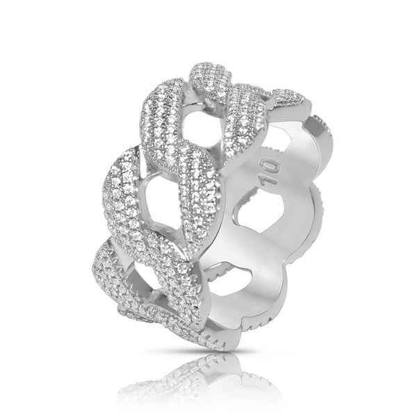 Men's White Gold Cuban Link CZ Hip Hop Ring