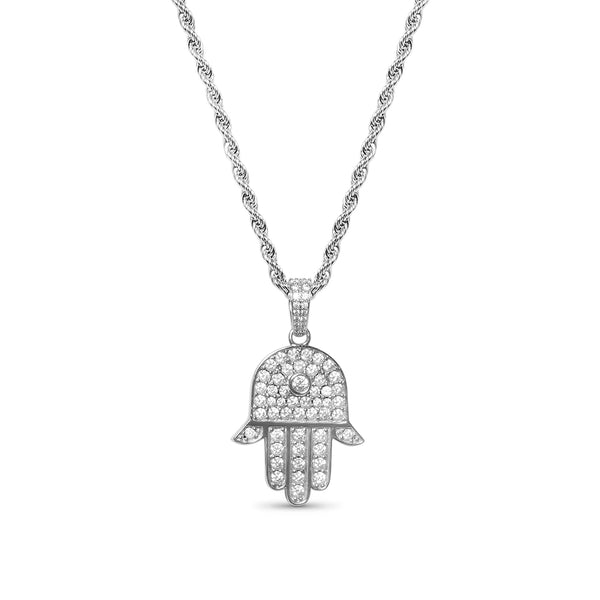 Men's White Gold Diamond CZ Hamsa Pendant Necklace