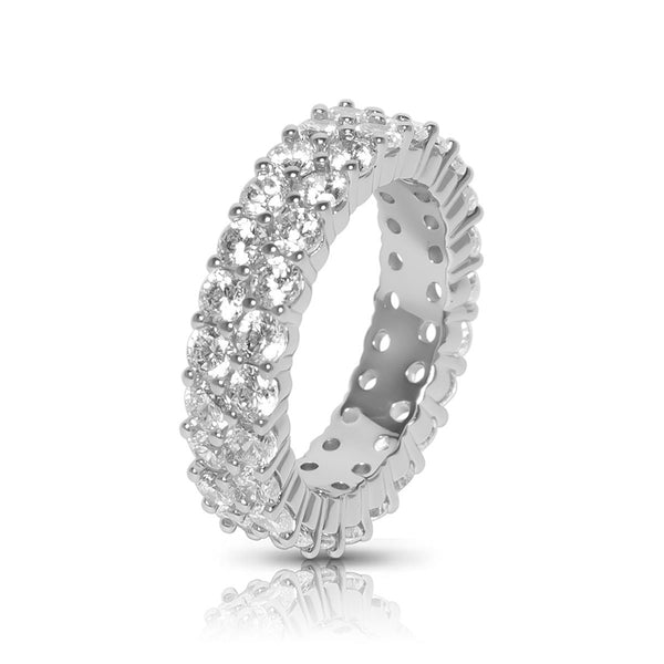 Men's White Gold Tennis Two Row CZ Diamond Ring