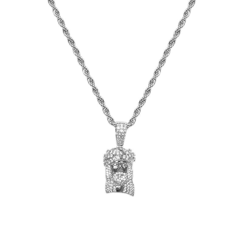 Iced Out White Gold Diamond CZ Jesus Piece Necklace for Men