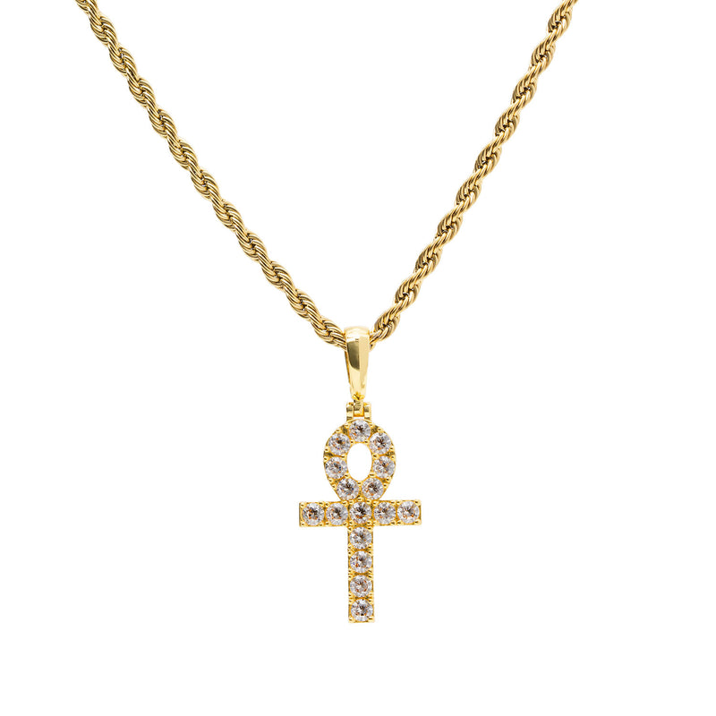 Gold CZ Micro Ankh Cross Necklace