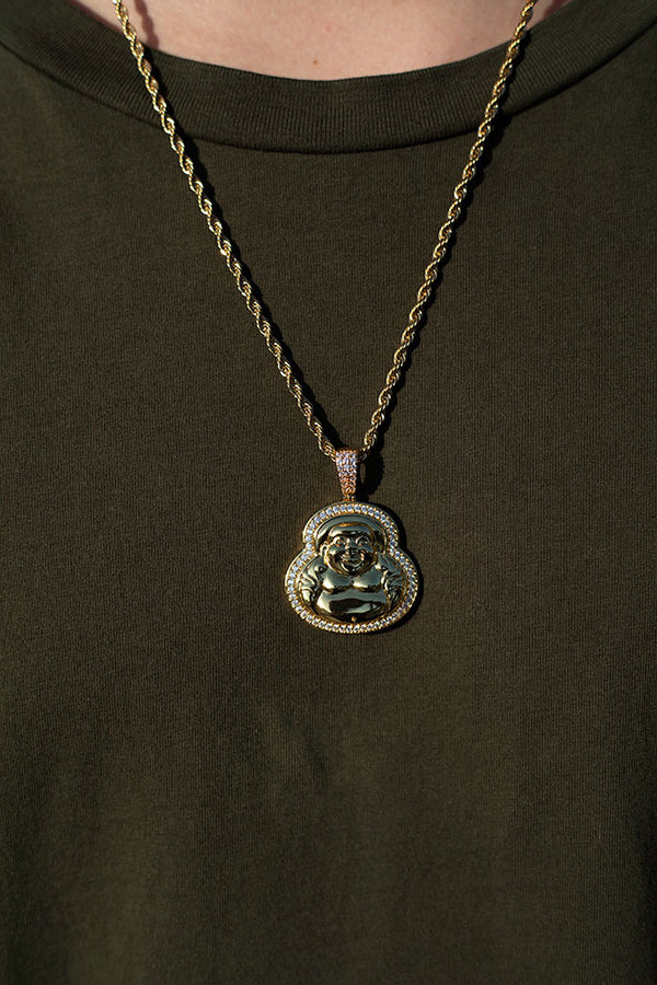 Gold Diamond CZ Buddha Necklace