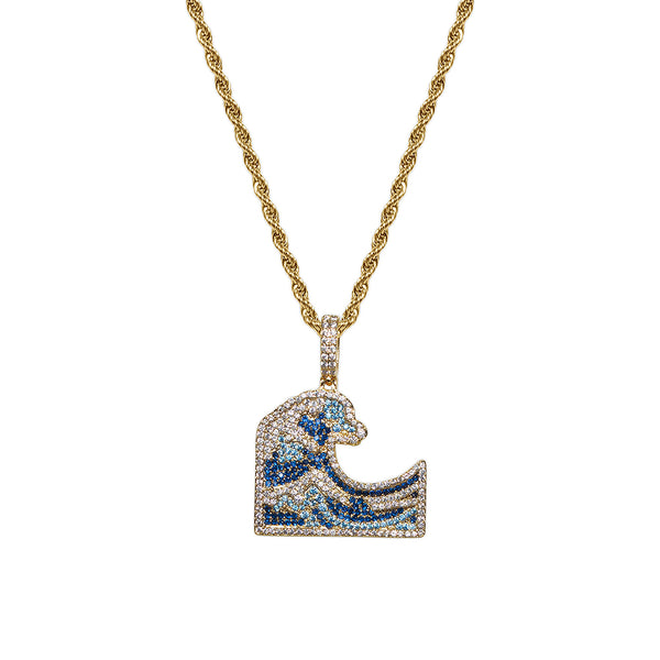 Gold Diamond CZ Great Wave Necklace