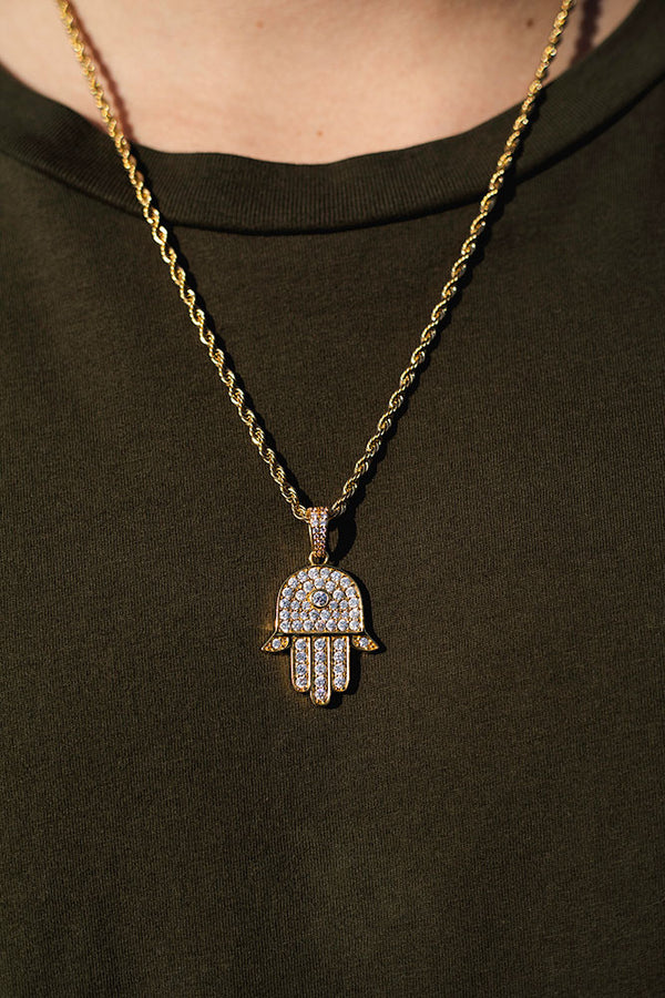 Gold Diamond CZ Hamsa Necklace