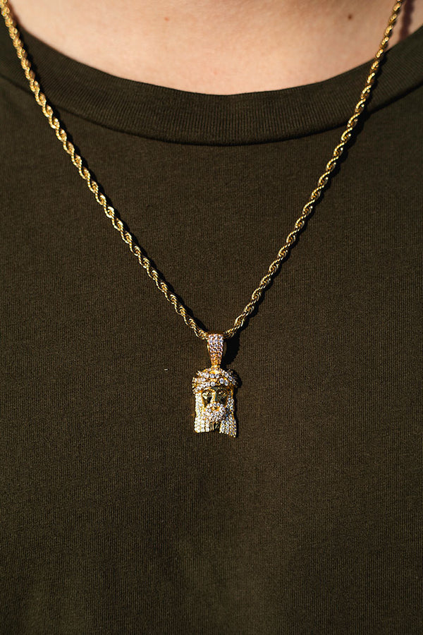 Gold Diamond CZ Jesus Piece Necklace