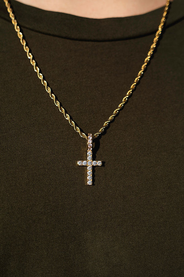 Gold Diamond CZ Micro Cross Necklace