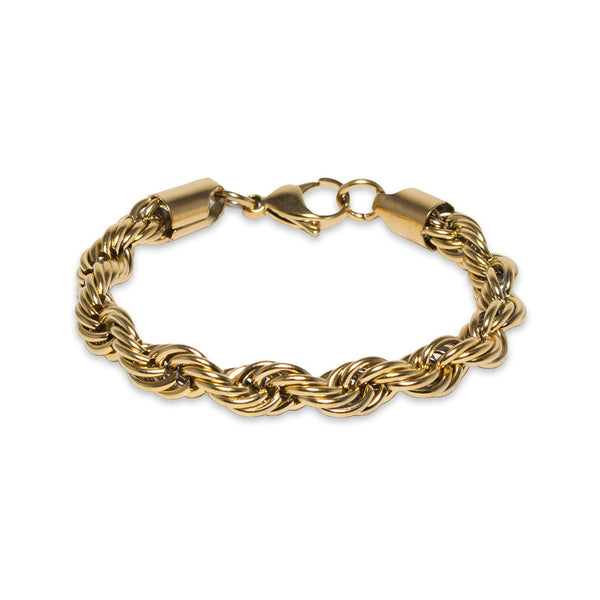 8mm Gold Rope Bracelet