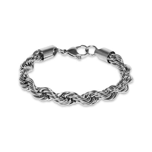 8mm White Gold Rope Bracelet