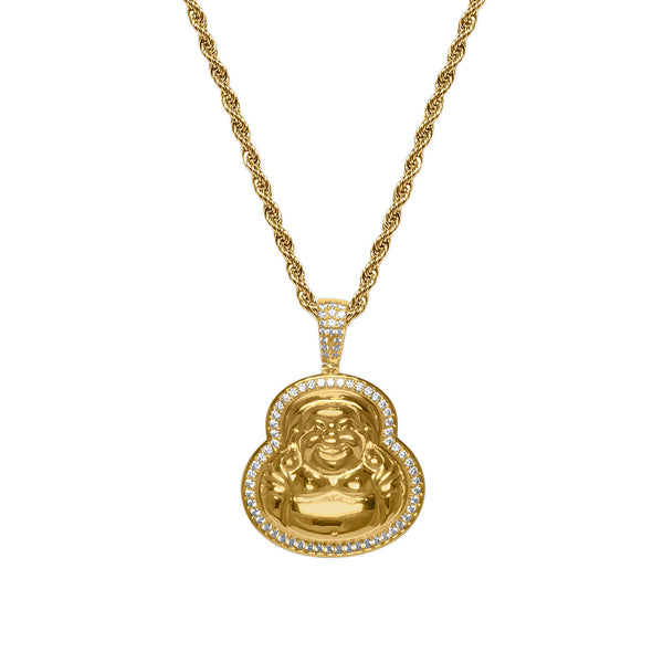 Men's Gold Diamond CZ Buddha Hip Hop Necklace