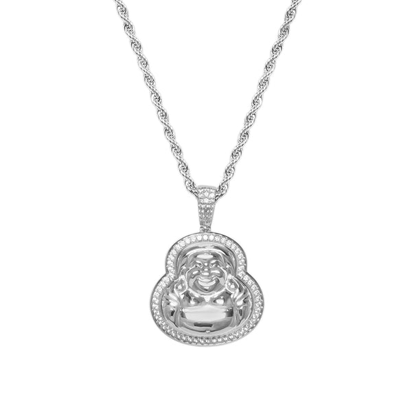 Men's White Gold Diamond CZ Buddha Pendant Necklace