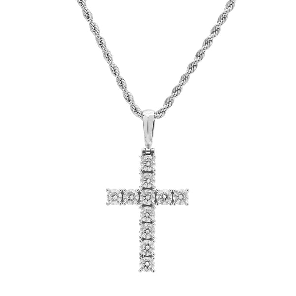 White Gold Diamond CZ Cross Necklace