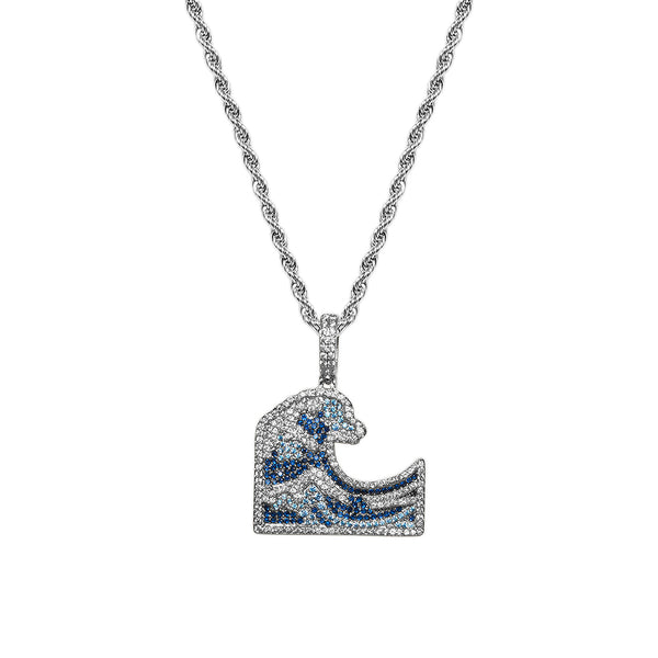 Men's White Gold Diamond CZ Great Wave Emoji Pendant Necklace