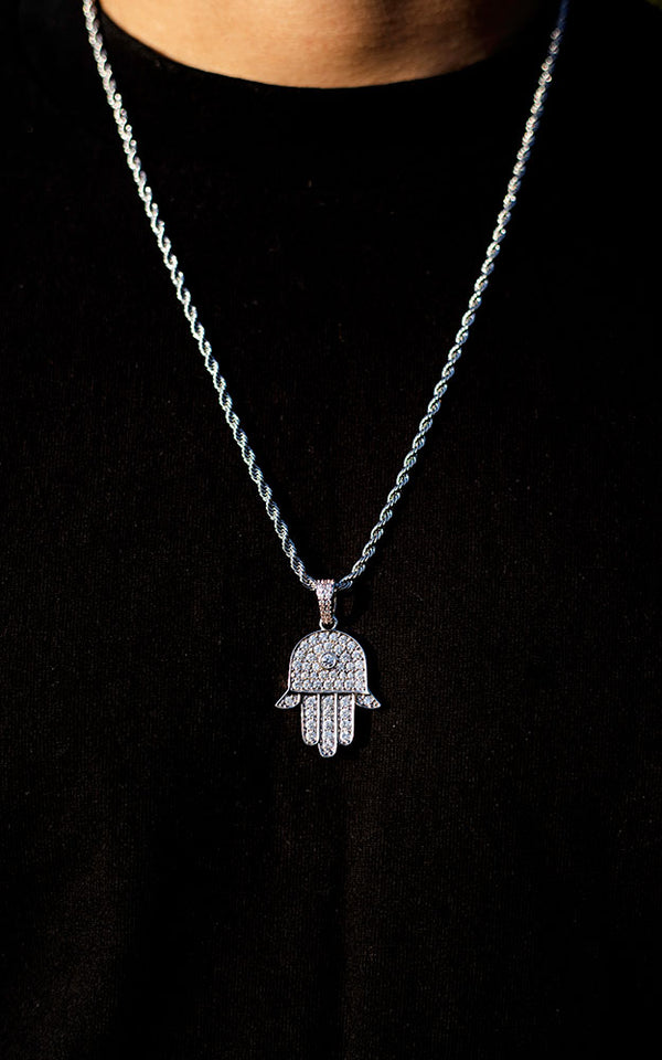 White Gold Diamond CZ Hamsa Necklace