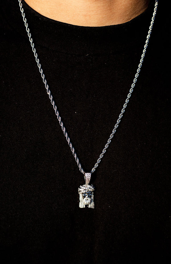 White Gold Diamond CZ Jesus Piece Necklace