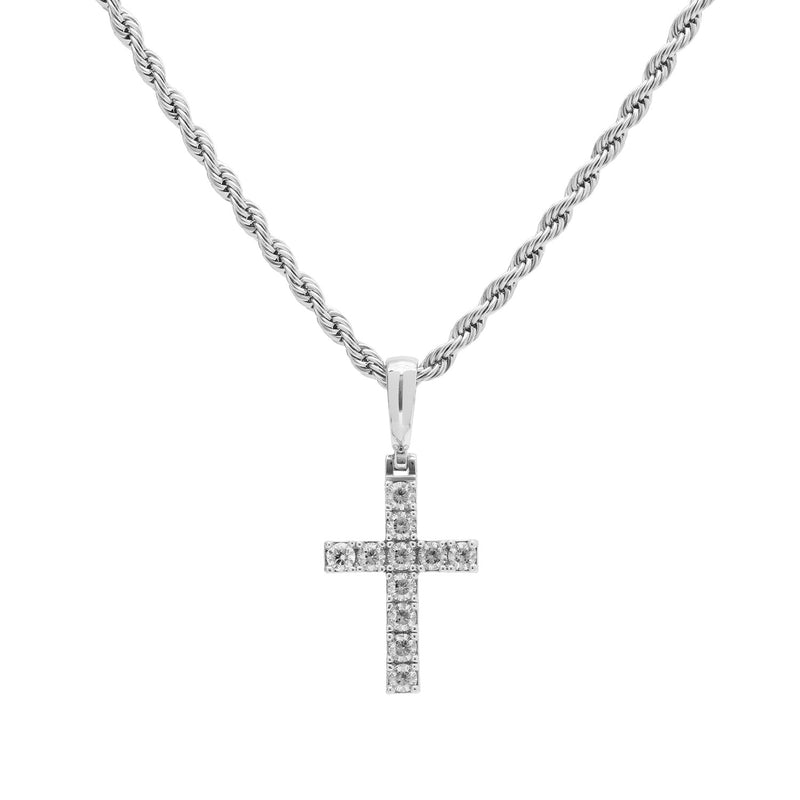 White Gold Diamond CZ Micro Cross Necklace