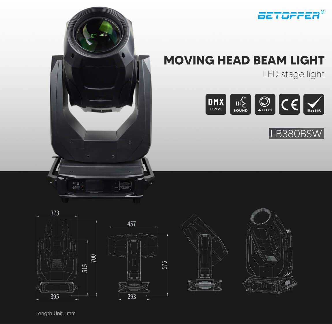 BETOPPER Beam Lamp Gobos Stage Led Light Moving Head Light LB380BSW Exterior Dimensions