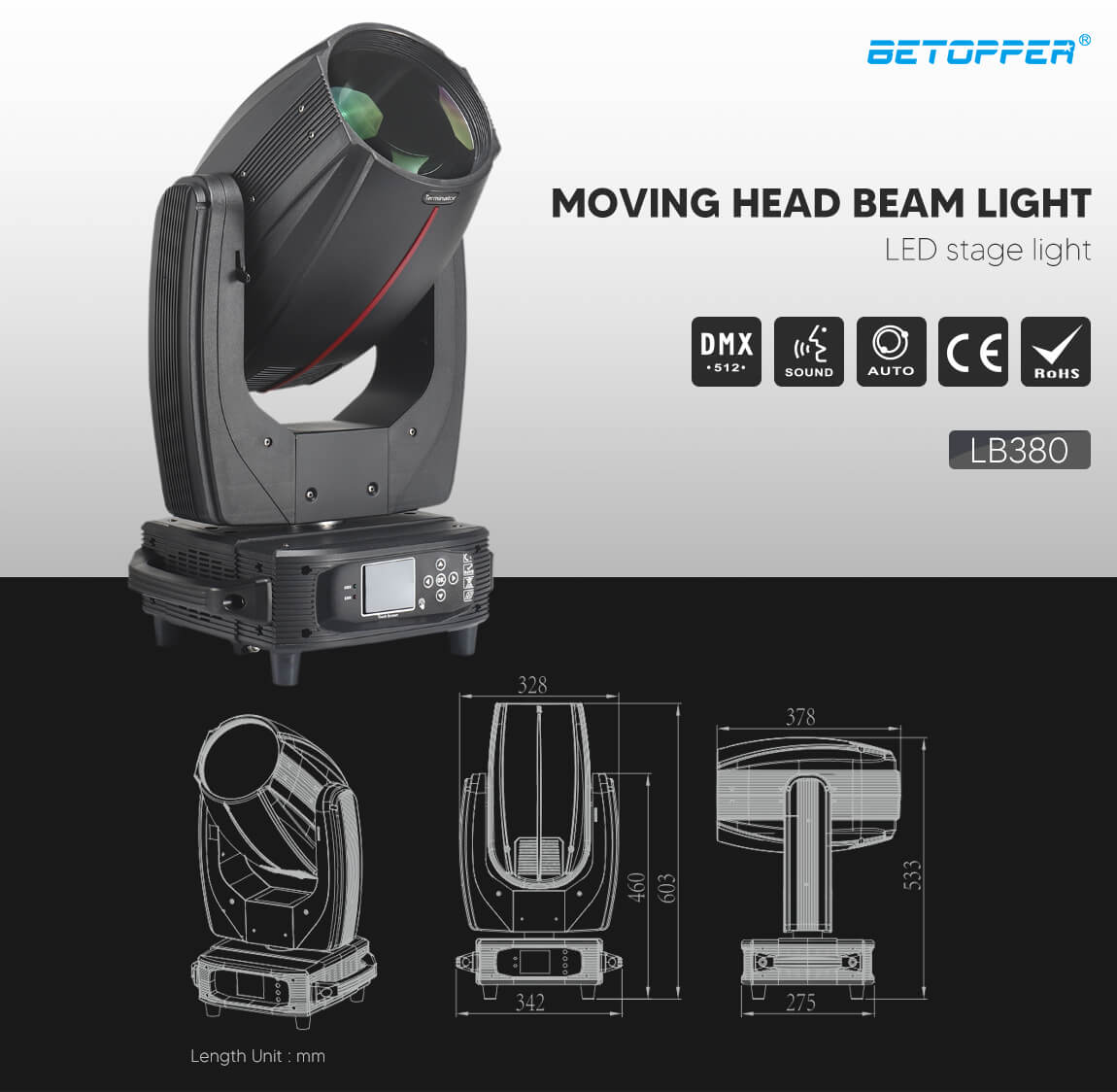 BETOPPER Professional Moving Head Beam Stage 17R Lighting LED Stage Lights LB380 Exterior Dimensions