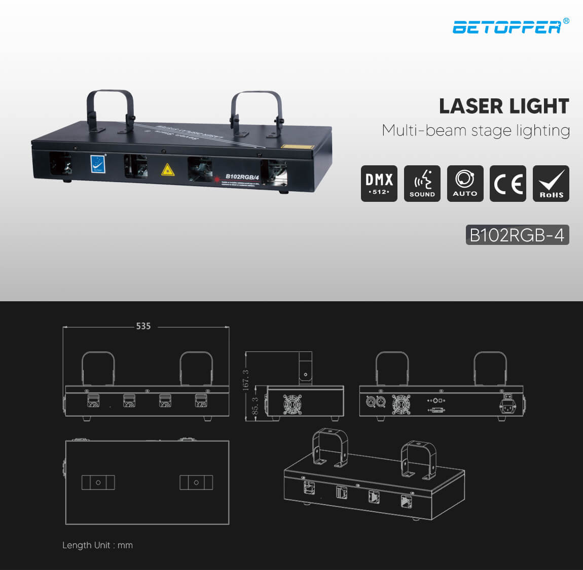 BETOPPER laser light 4heads rgb complete stage lighting system B102RGB/4  Exterior Dimensions