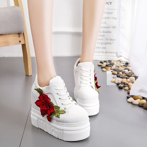 2019 New Women Vulcanize Shoes Vintage Lace Up  High Heel Wedge Platform Women Shoes Leisure Girls Woman Footwear Black  White - shoescraze