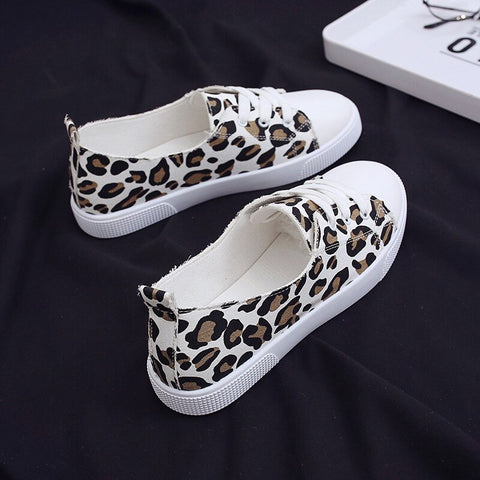 2019 Women Sneakers Leopard Printted Low Top Flats Canvas Casual Shoes Woman Autumn Lace Up White Sneakers Ladies Shoes Student - shoescraze