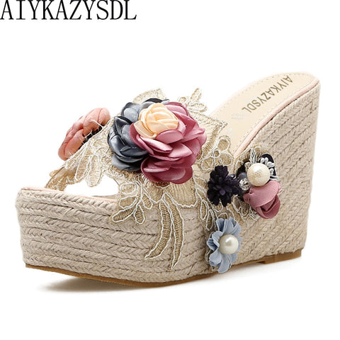 AIYKAZYSDL 2019 Ethnic Bohemia Pearl 3D Flower Sandals Lace Embroidered Clear Hemp Rope Cane Shoes Silpper Slide Mule Wedge Heel - shoescraze
