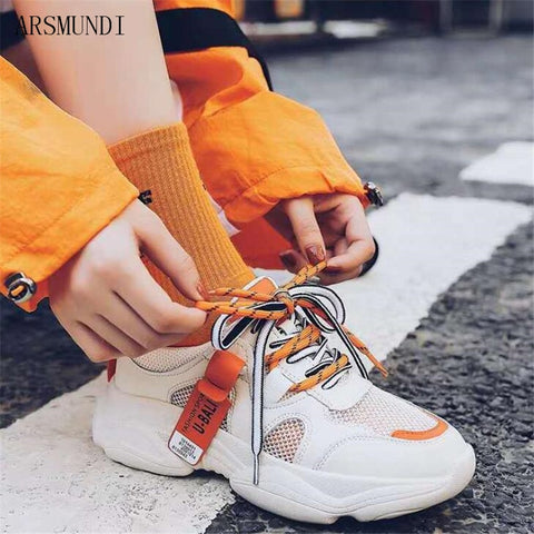 ARSMUNDI 2019 Fashion Women Casual Shoes Summer Sneakers Women Femme Platform Shoes Breathable Mesh Shoes Chaussures M638 - shoescraze