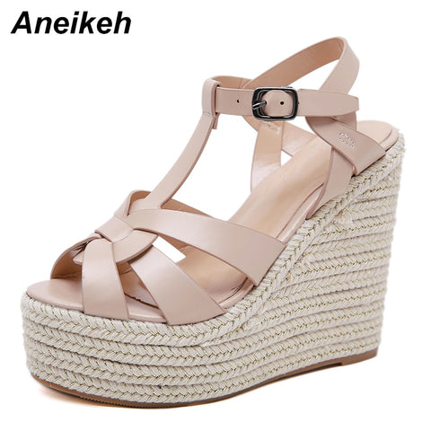 Aneikeh 2019 Summer New Ladies Sandals Casual Fashion Fish Mouth Open Toe Cross Belt Super High Thick Bottom Wedge Sandals Black - shoescraze