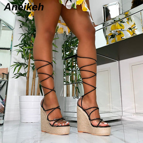 Aneikeh Leisure PVC Sandal Women Transparent Sandals Lace-Up Wedges High Heels Thin Belt Solid Black Gold Party Daily Size 35-42 - shoescraze