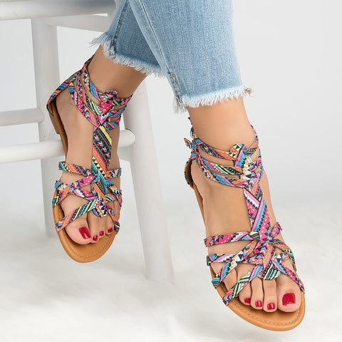 Big Size 42-43 Flat Sandal Women Summer Zipper Canvas Sandals Female Light Weight Casual Shoes For Women Fashion - shoescraze