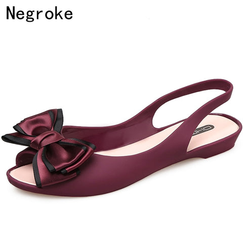 Bowknot Jelly Shoes Women Flat Sandals Open Toe Soft PVC Summer Fashion Slingback Ladies Boat Shoes Woman Beach Sandalias Mujer - shoescraze