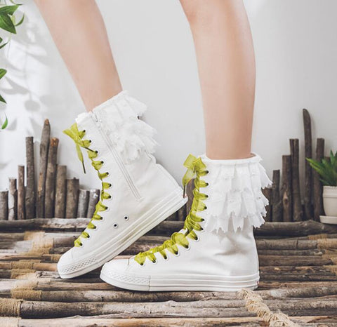 COVOYYAR 2019 Spring Autumn Women Canvas Shoes Flat Sneakers Casual Woman Shoes Ribbon Lace Up Big Size White/black WBS007 - shoescraze