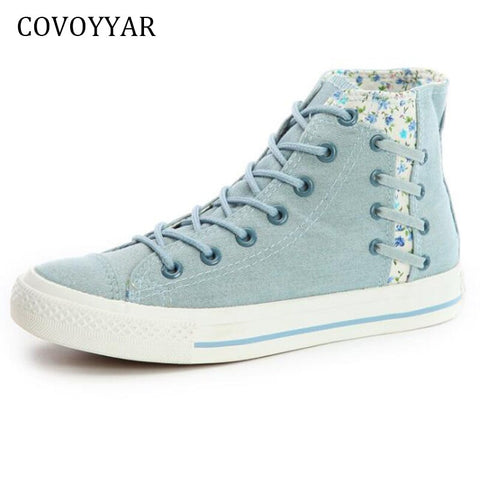 COVOYYAR Denim Canvas Shoes Women 2019 Spring Autumn Flowers High Top Women Sneakers Lace Up Platform Flat Casual Shoes WSN636 - shoescraze