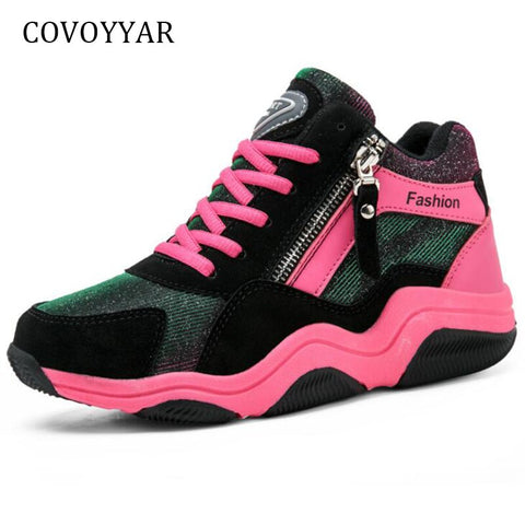 COVOYYAR Fashion Shining Casual Shoes 2019 Comfort High Top Women Sneakers Hidden Wedges Platform Lace Up Women Shoes WSN691 - shoescraze