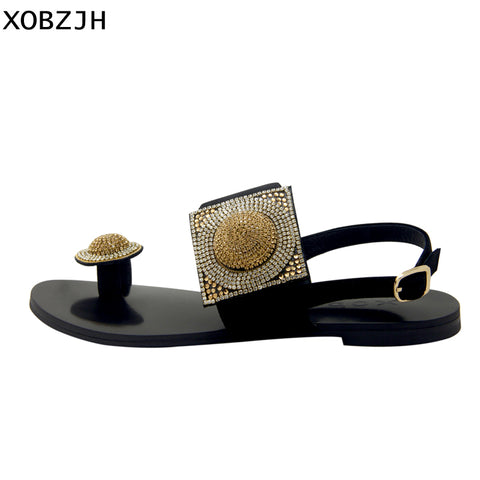 Designer Women Summer Shoes Flat Luxury Sandals 2019 Rhinestone Ladies Leather Lace Up Sandals Slippers Shoes Woman Flip Flops - shoescraze