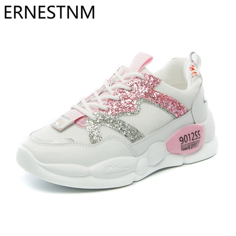 ERNESTNM Glitter Sneakers 2019 Autumn Sock Shoes Women Sequined Cloth White Shoes Bling Lace Up Chunky Sneakers Tenis Feminino - shoescraze