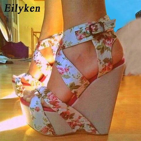Eilyken Summer Fashion Wedge Platform Woman Sandals Shoes Buckle strap Silk Printed Sexy Female Party Casual Sandals Shoes - shoescraze